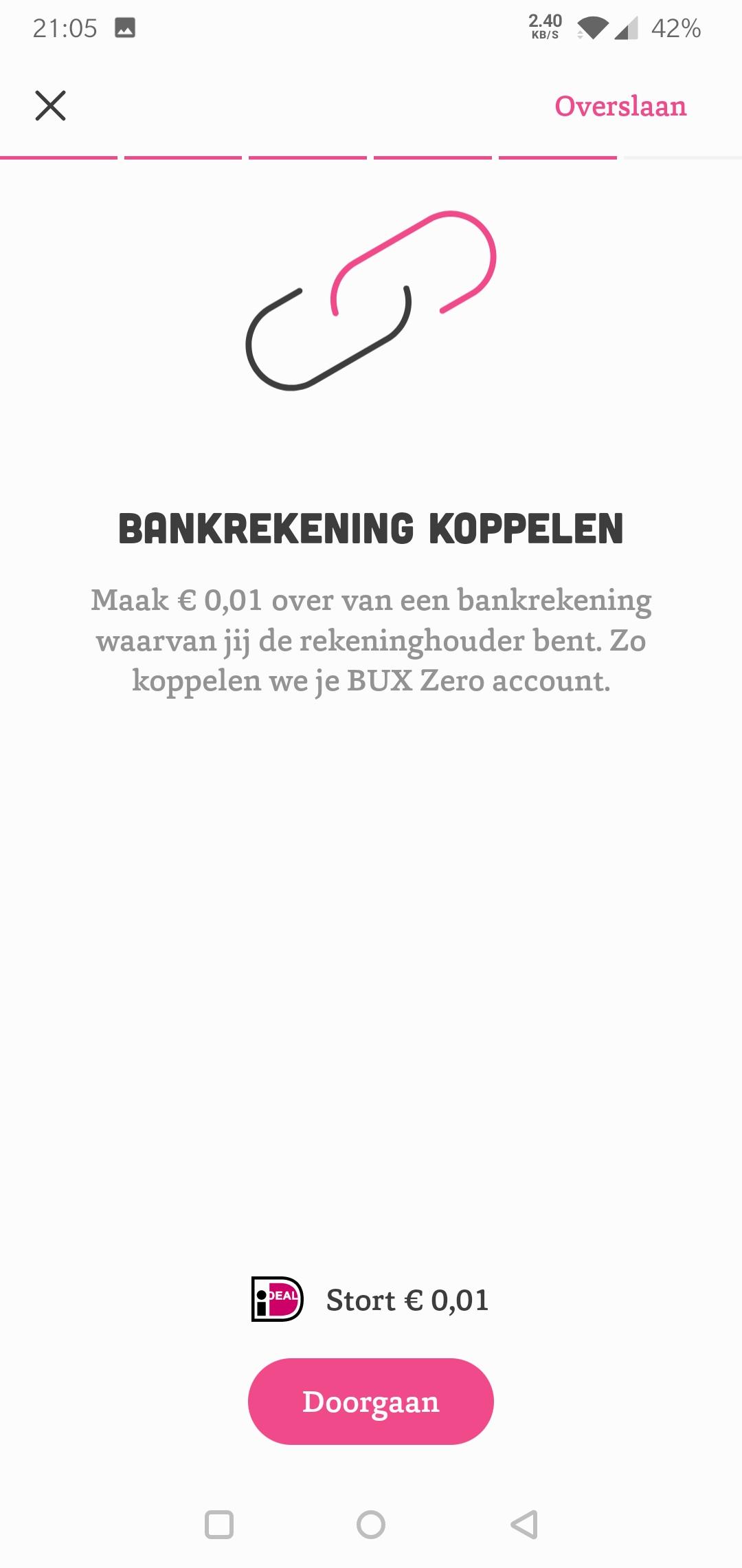 Bux Zero bankrekening koppelen