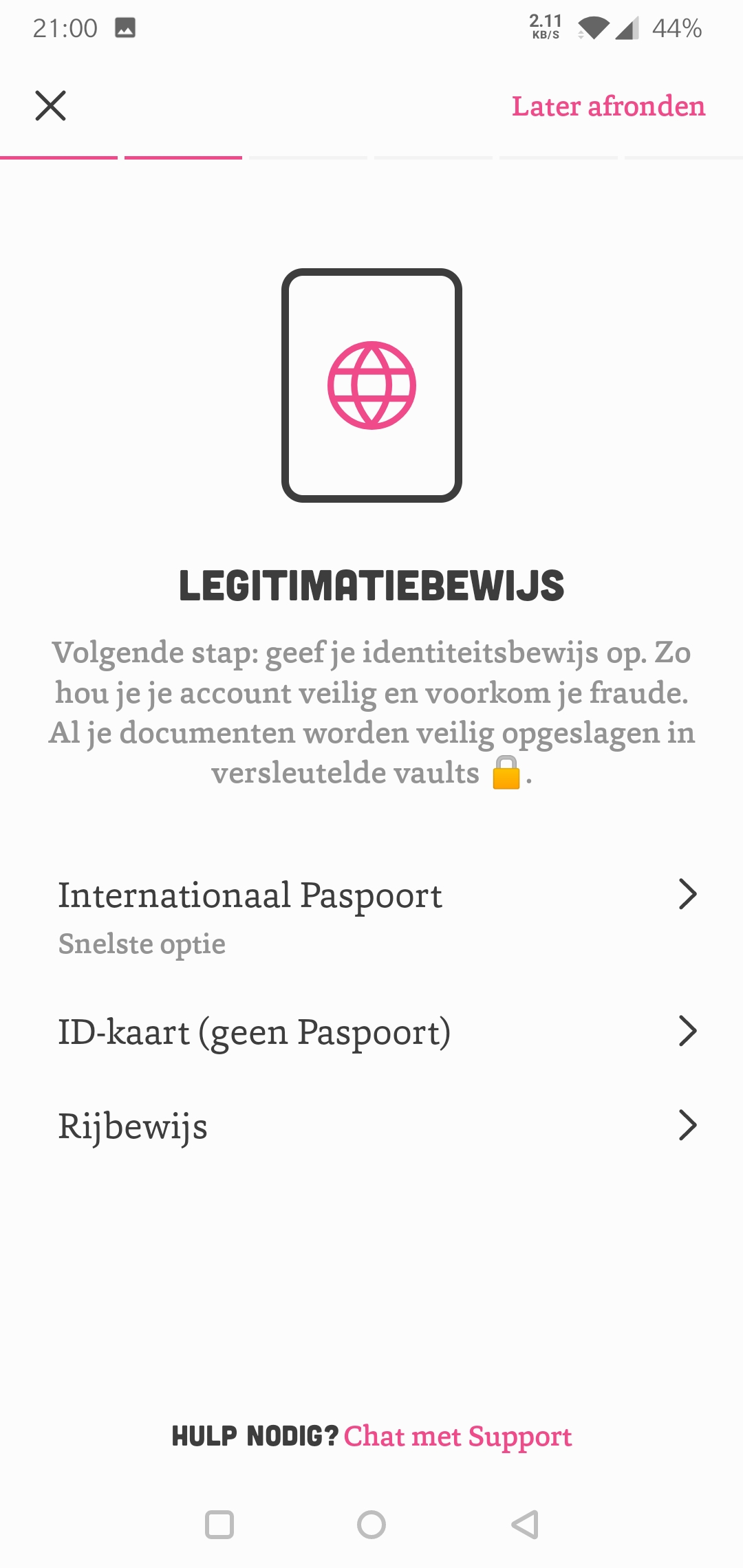 Bux Zero legitimatiebewijs